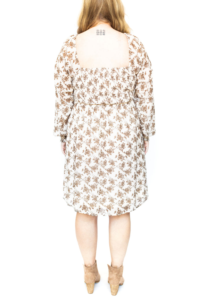 Floral Print Smocked Dress - Cream
