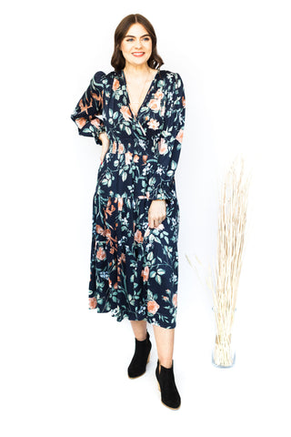 Black Floral Faux Wrap Dress
