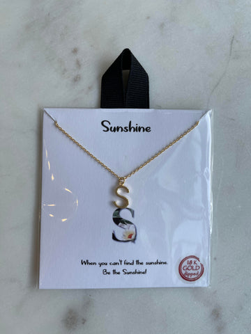 T - Sunburst Initial Necklace