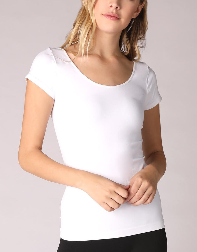Short Sleeve Fitted Cami - White