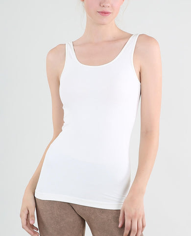 Wide Strap Tank Long - White