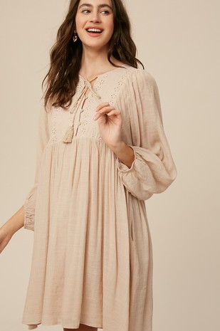 Eyelet Detail Babydoll Dress - Beige