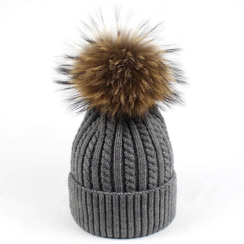 Cable Knit Beanie with Pom Pom - Grey