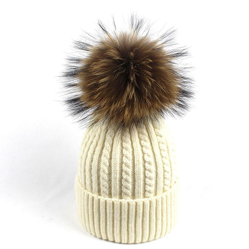 Cable Knit Beanie with Pom Pom - White