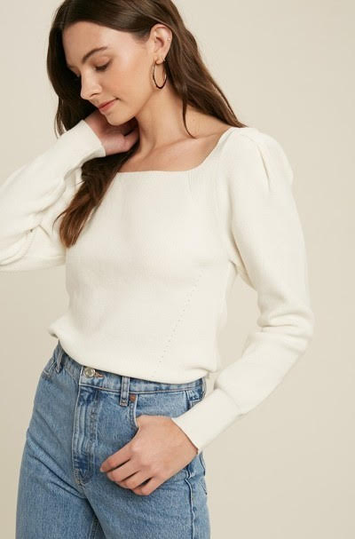 Square Neck Sweater with Back Tie