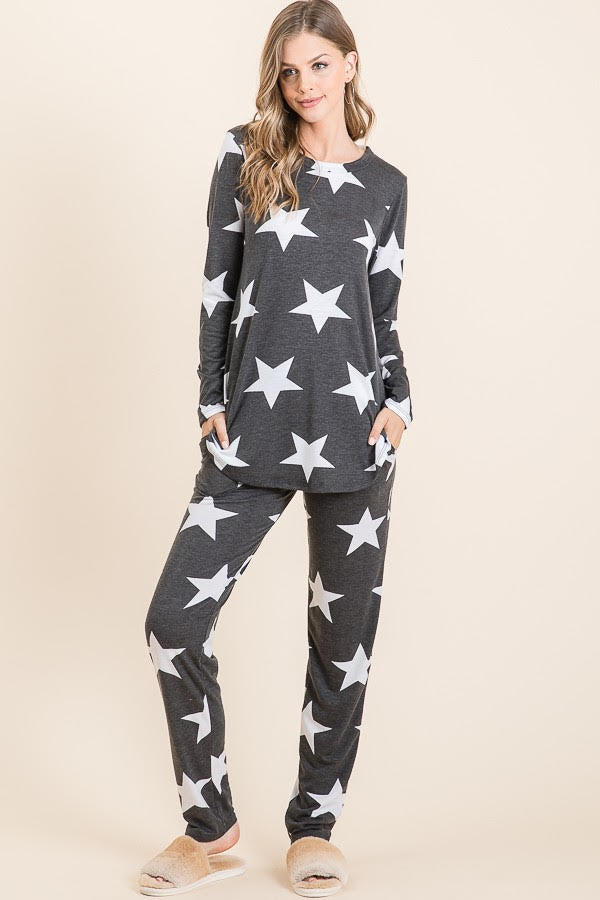 Star Print Lounge Set