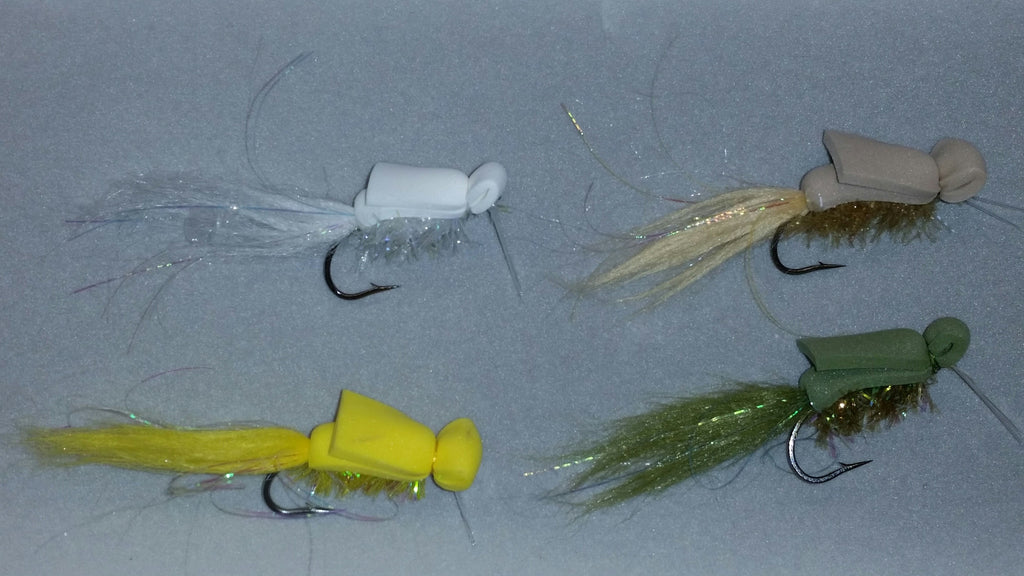 Trail Hopper Flies White, Tan, Yellow, Olive Size 2 Weedguards