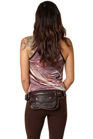 Leather Money Belt - 1 Pocket Braided - Festival Lifestyle