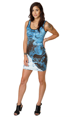 Cocktail Dress-Printed Ocean Earth Dress-Our Earth from Space-Kamchatka