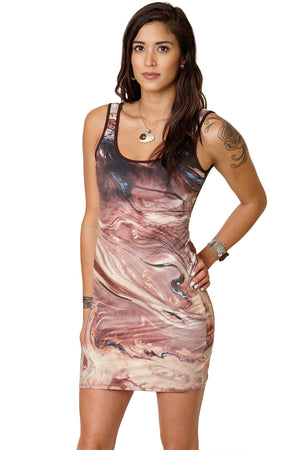 Cocktail Dress-Printed Travel Dress-Earth Clothing-NASA Satellite Clothing-Dasht-e Kavir