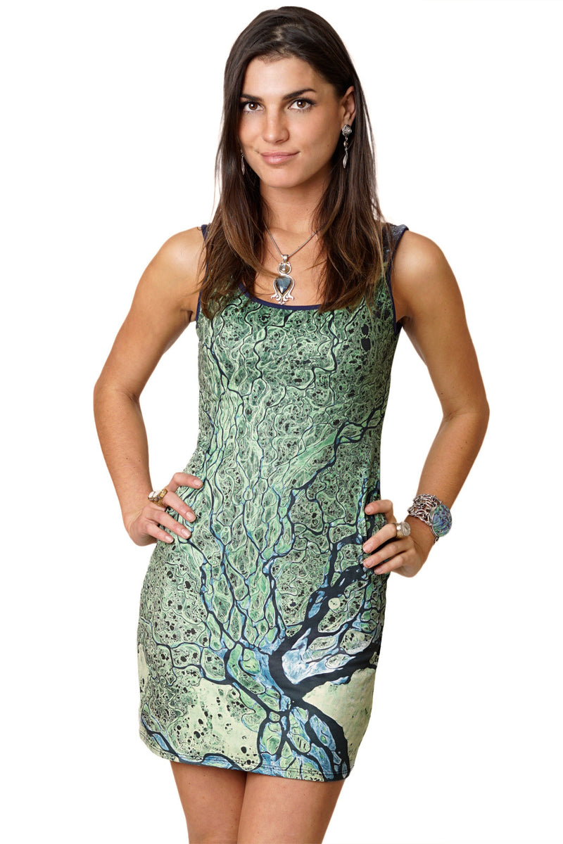 Printed Mini Dress, Earth Dress-Lena-Delta
