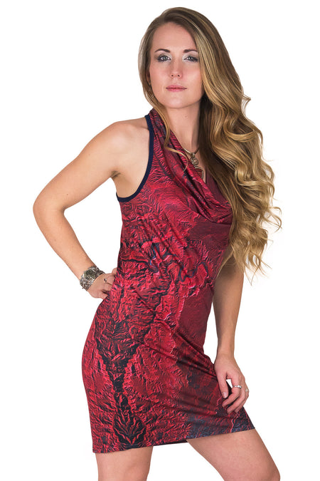Sleeveless Cowl Neck Dress-Bohemian Festival Clothing-Dasht-e Kavir