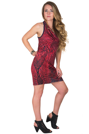 Sleeveless Cowl Neck Dress-Map Dress-Nature Clothing-Desolation Canyon-Full View