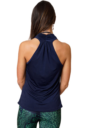 Sleeveless Cowl Neck Top-Nature Clothing-Earth Top-Sapphire