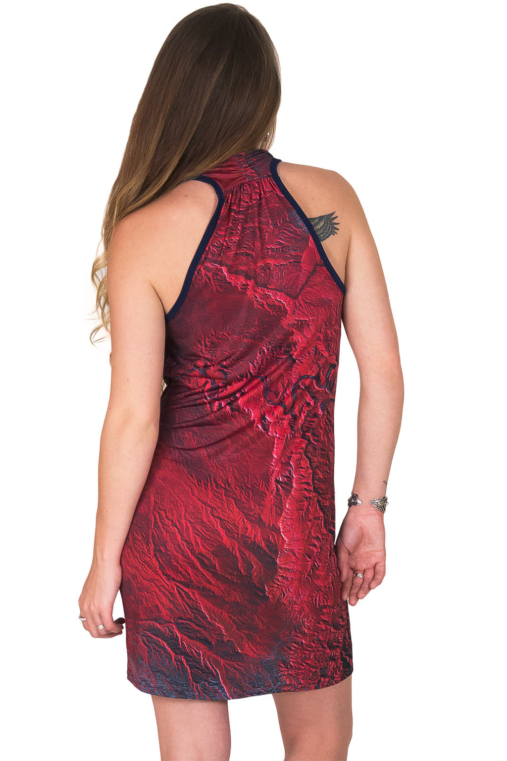 Sleeveless Cowl Neck Dress-Map Dress-Nature Clothing-Desolation Canyon-Back View