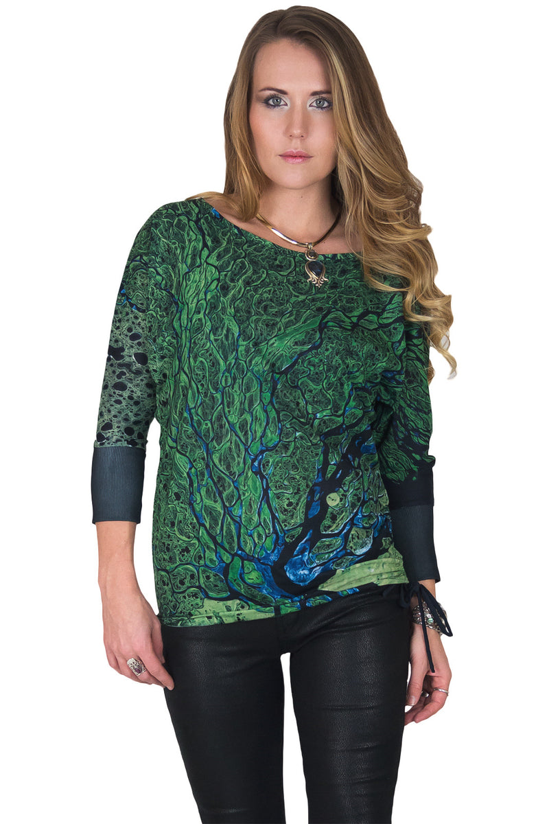 Dolman Top-Travel our World-Earth Clothing-Satellite Image Lena Delta