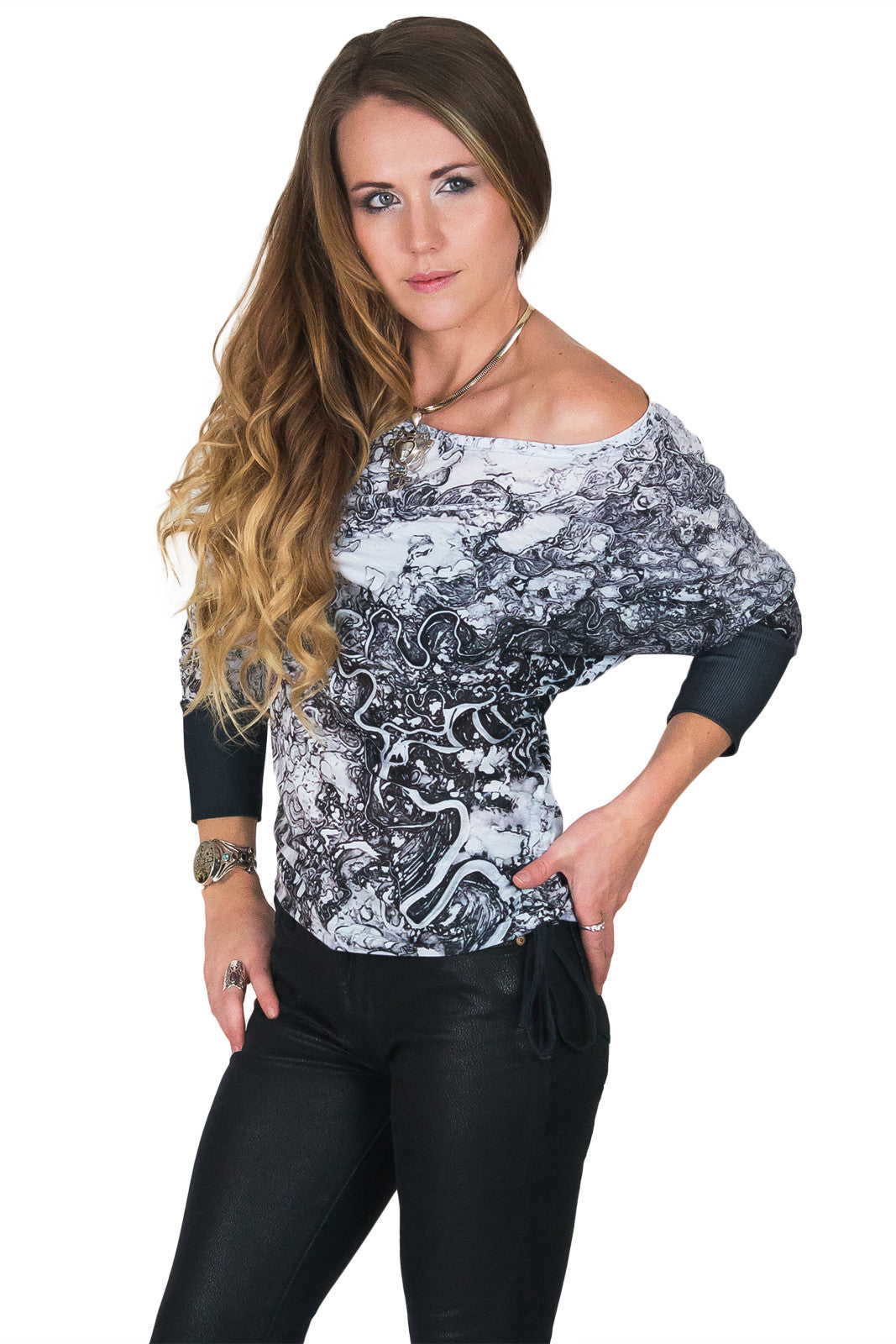 Dolman Top-Printed Travel Clothes-Mayn River