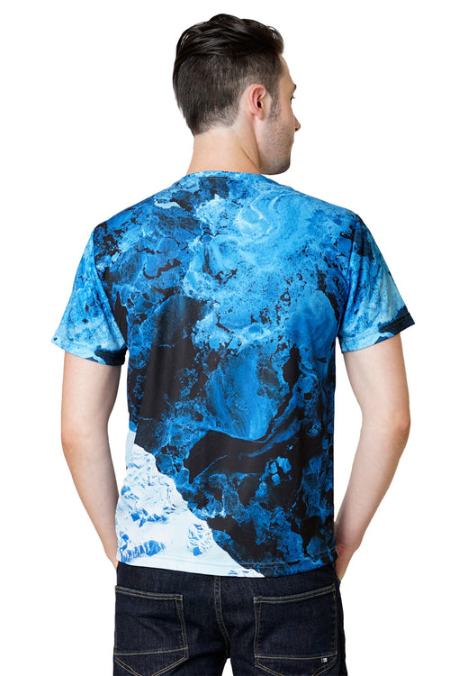 Mens Short Sleeve-Activewear Clothing with Satellite Image-Kamchatka-Back view