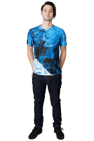 Mens Short Sleeve-Activewear Clothing with Satellite Image-Kamchatka-Full view
