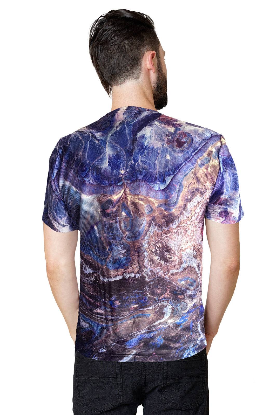 Mens Short Sleeve T-shirt-Nature Inspired Performance Clothing-Atlas Mtns-Back View