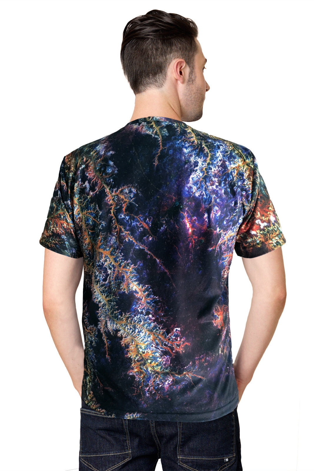 Mens Short Sleeve T-shirt- Printed Image of Earth - Cool Activewear - Ghadamis River
