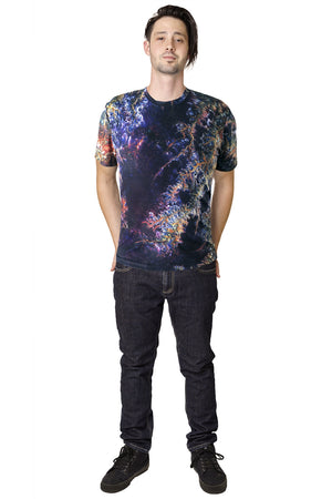 Mens Short Sleeve T-shirt-Printed Image of Earth-Cool Activewear-Ghadamis River-Full View