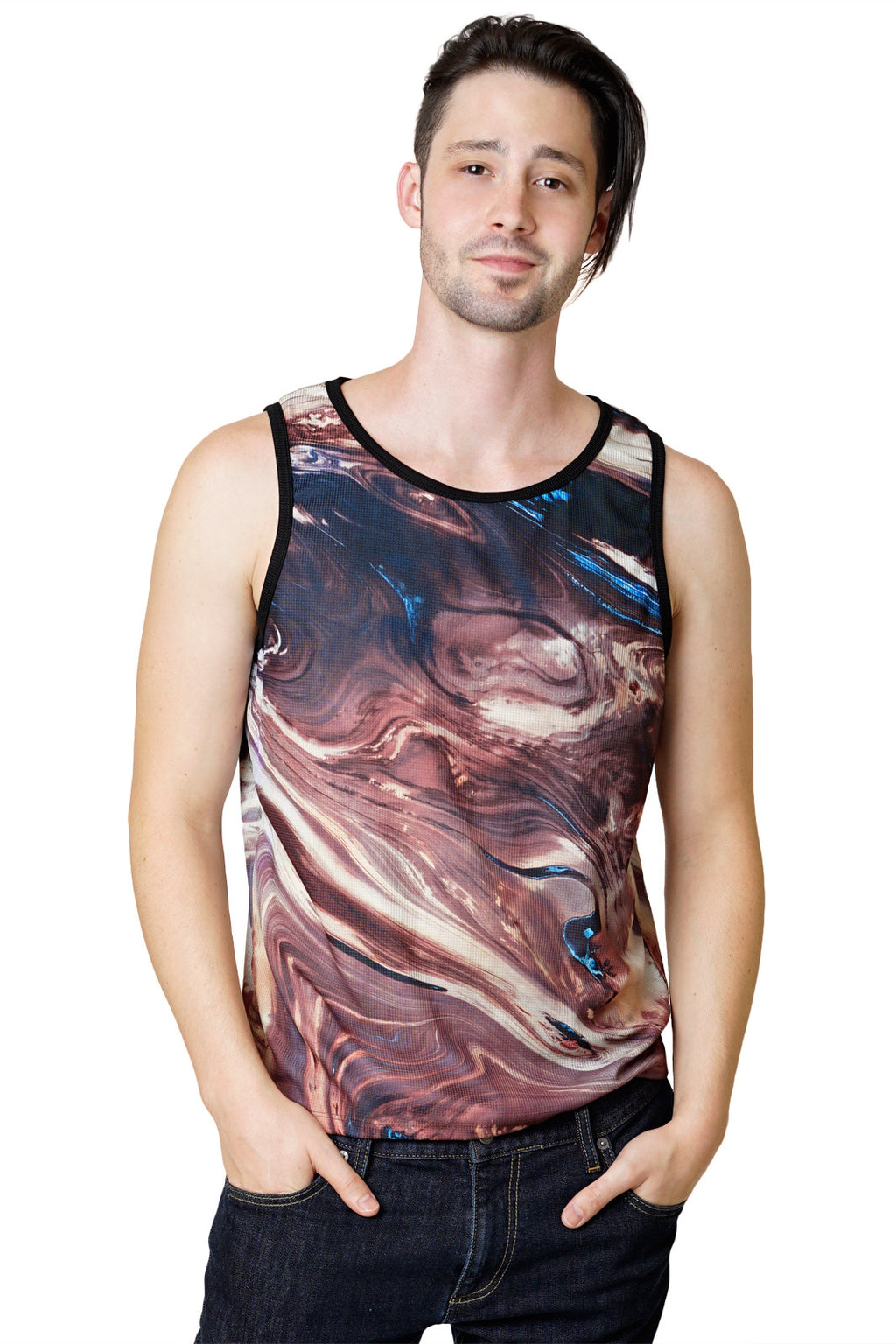 Mens Tank Top-Printed Athletic Performance-Satellite Map Clothing-Dasht-e Kavir