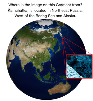 Mens Short Sleeve-Activewear Clothing with Satellite Image-Kamchatka-Our Earth