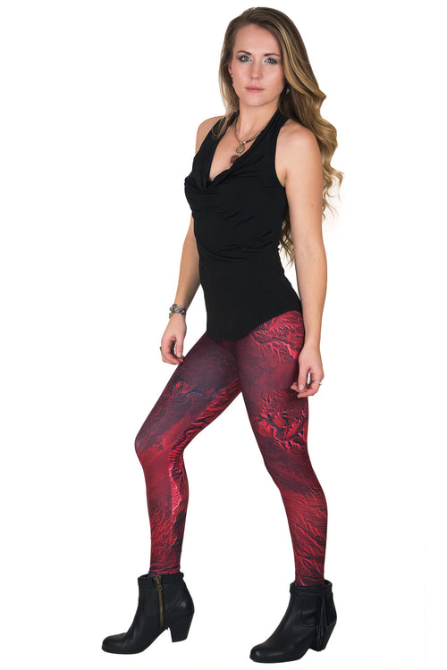 Leggings - Colorful Printed Leggings with NASA Satellite Image - Desolation Canyon