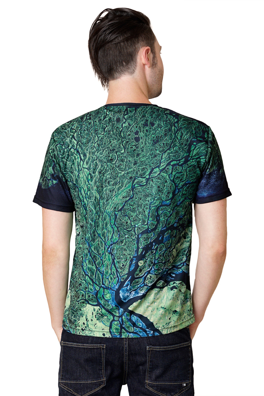 Mens Short Sleeve T-shirt-Nature Performance Clothing-Satellite Image of Earth-Lena Delta-Back View