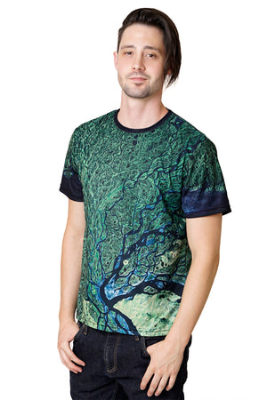 Mens Short Sleeve T-shirt-Nature Performance Clothing-Satellite Image of Earth-Lena Delta