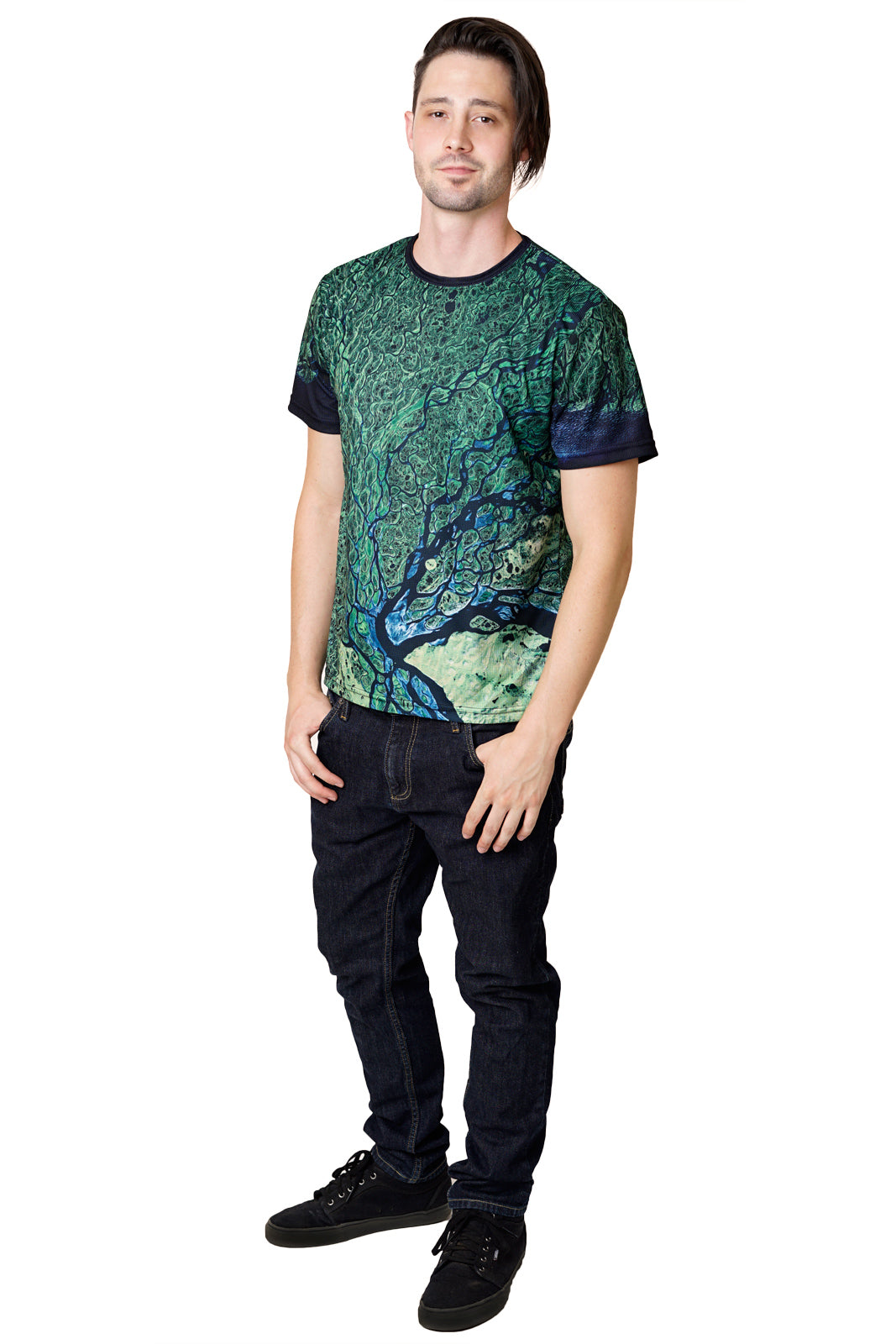 Mens Short Sleeve T-shirt-Nature Performance Clothing-Satellite Image of Earth-Lena Delta-Full View