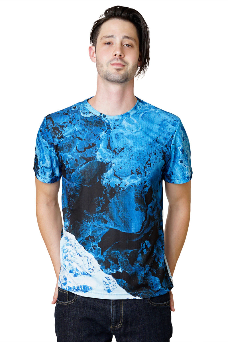 Mens Short Sleeve-Activewear Clothing with Satellite Image-Kamchatka