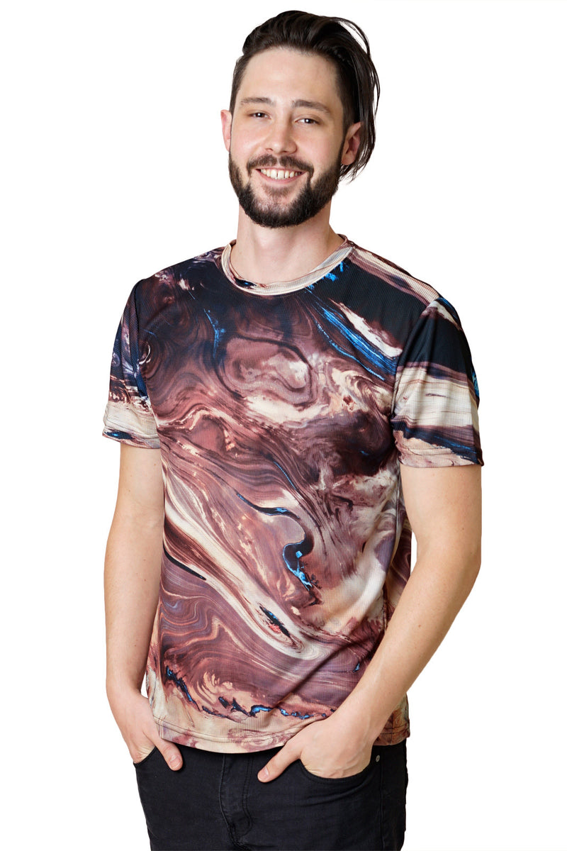 Mens Short Sleeve-Colorful Exercise Clothing-Desert of Dasht-e Kavir