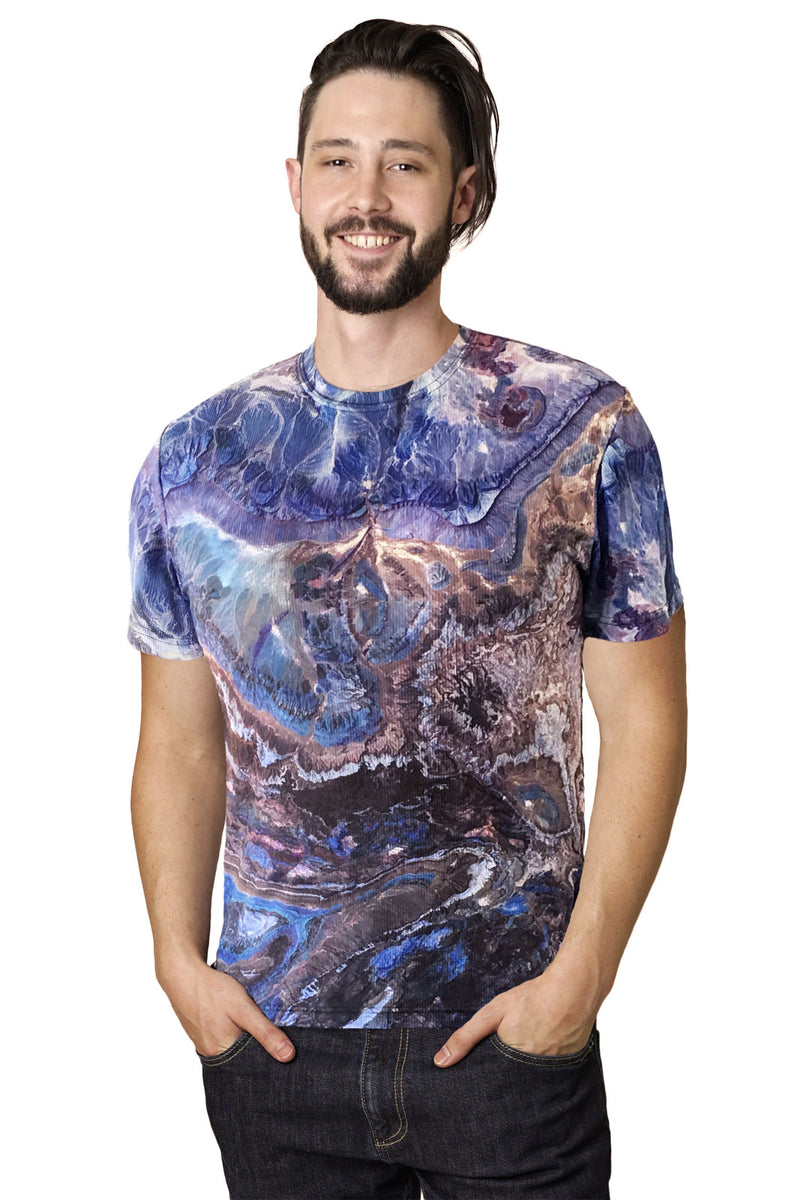 Mens Short Sleeve T-shirt-Nature Inspired Performance Clothing-Atlas Mtns-Earth Image