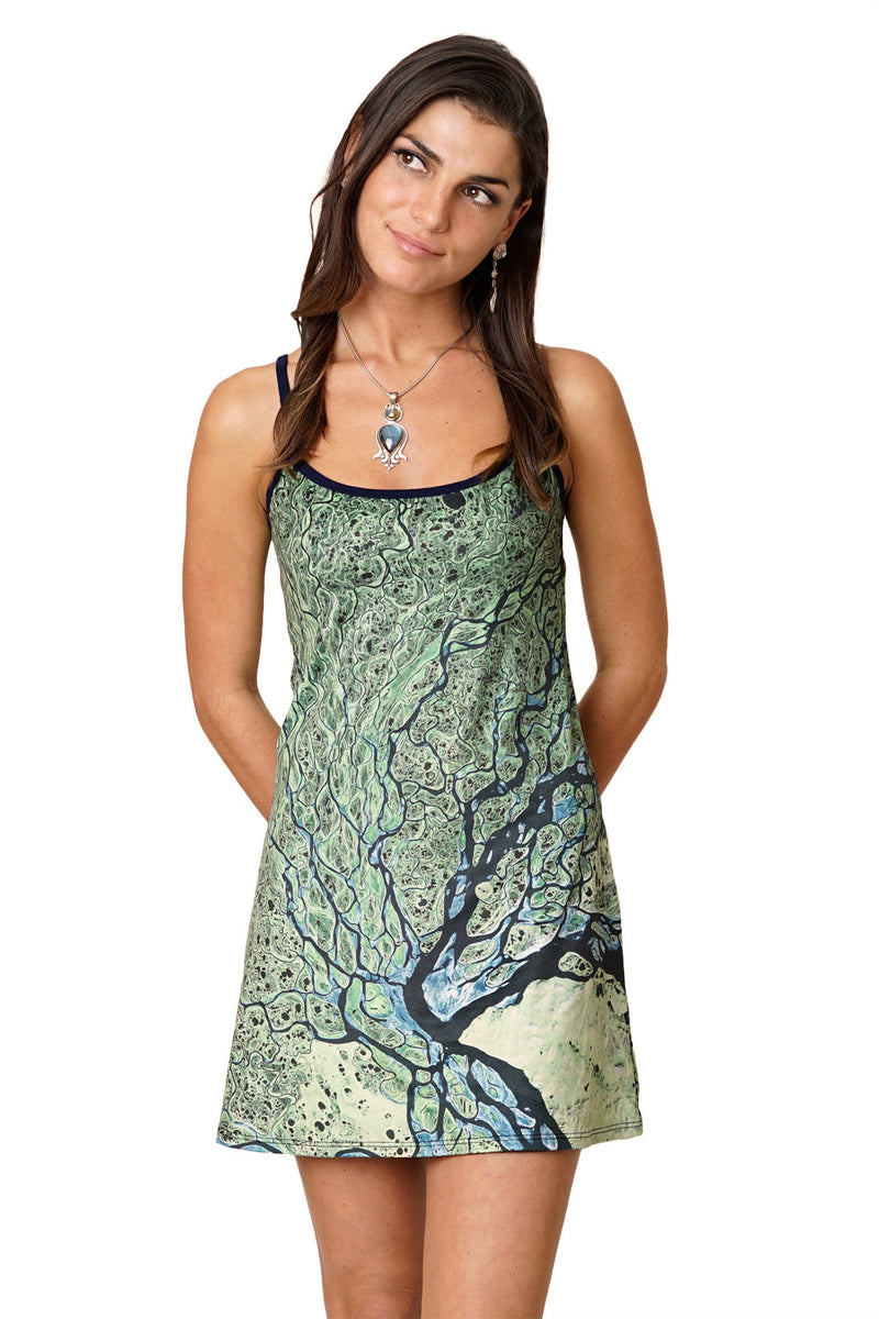 Mini Dress - Earthscapes Organic Pattern - Lena Delta