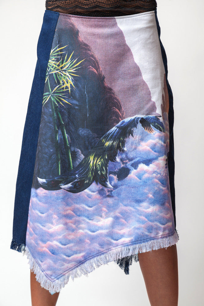 Jean Skirt-Silver Bird-Visionary Art Clothing-Nature Clothing-Fairy Clothing