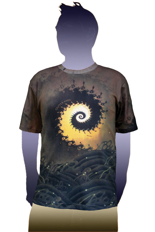 Shortsleeve T-shirt- Rumi Quote Visionary Art - Fractal Wave