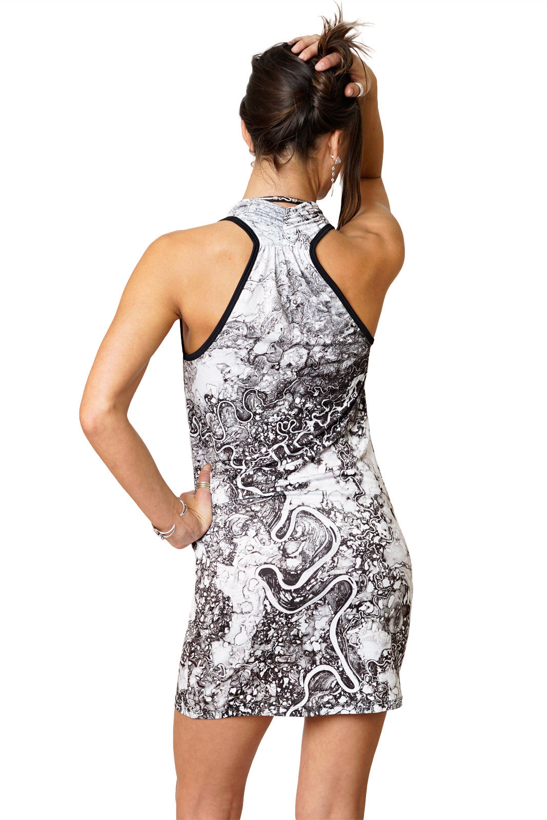 Sleeveless Cowl Neck Dress-Google Earth Clothing-Mayn River-Back View