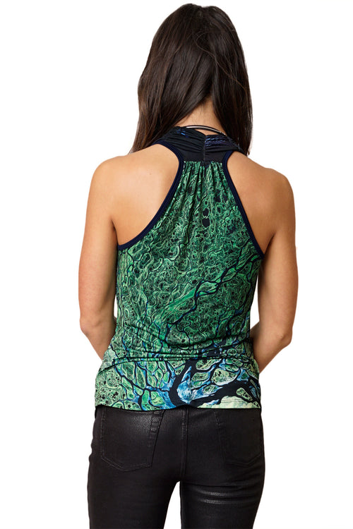 Landscape Print Clothing, All Over Print Sleeveless Cowl Neck Top-Lena Delta