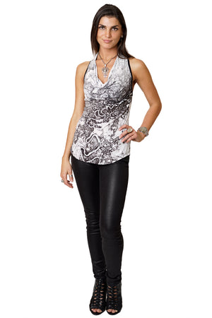 Sleeveless Cowl Neck Top - Earth Prints - Mayn River