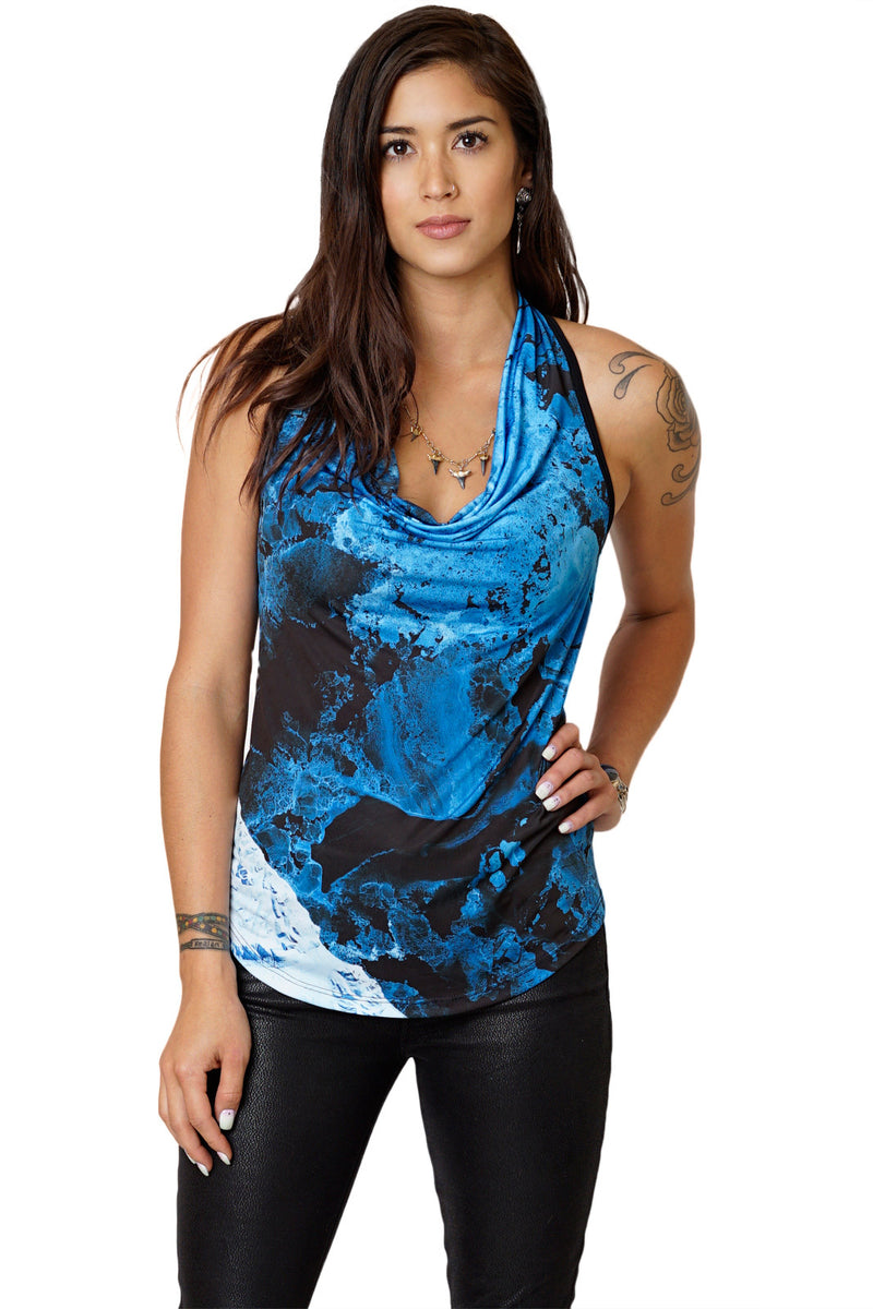 High-Definition Graphic, Sleeveless Cowl Neck Top-Printed Ocean Top