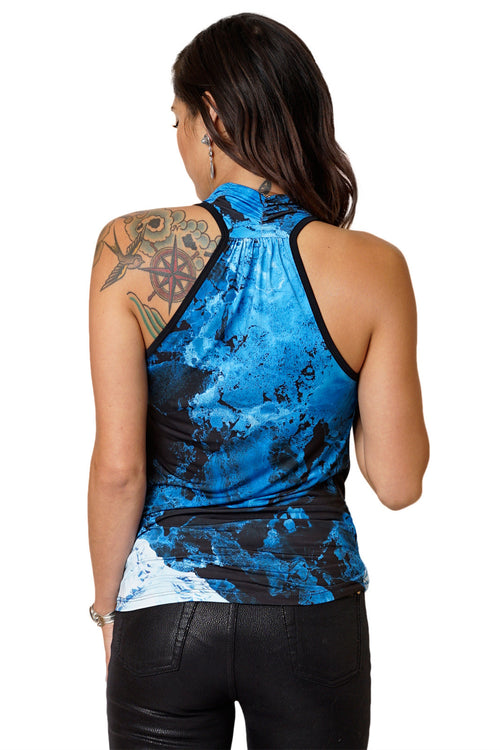 High-Definition Graphic Sleeveless Cowl Neck Top-Printed Ocean Top