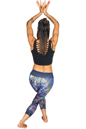 Landscape Print Clothing, Nature Print Clothing, Yoga Capri Leggings-Ghadamis