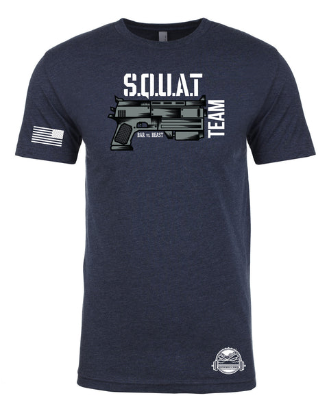 Squat Team Gun Men's Tee (Midnight Navy)