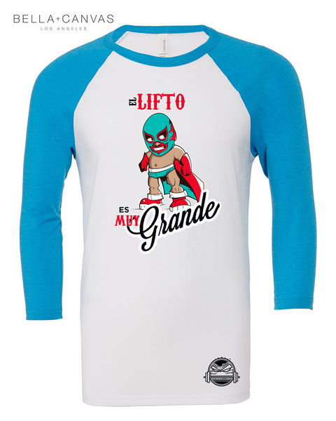El Lifto Men's 3/4 Sleeve Baseball Tee (Teal/Light Gray)