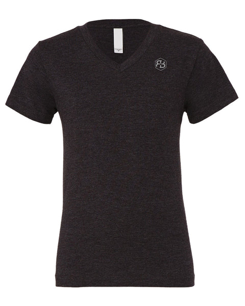 BvB Gray Logo Men's V-Neck Tee (Vintage Black)
