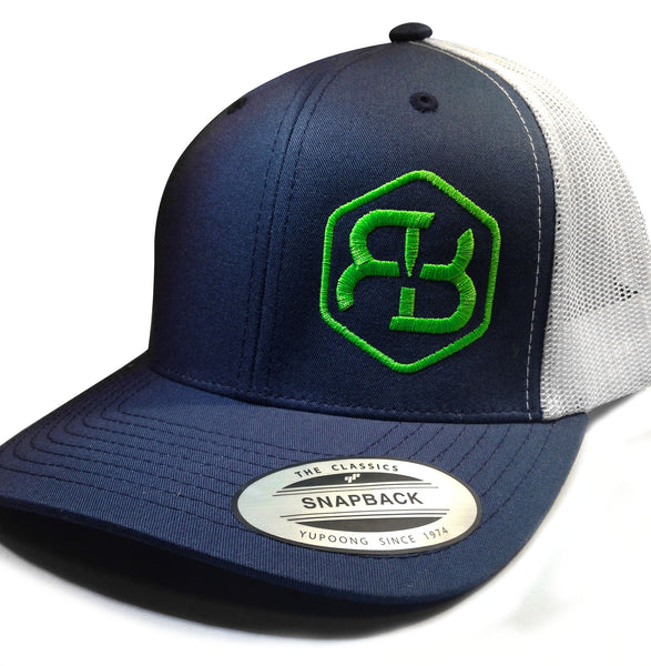 BvB Neon Green Retro Trucker 2-Tone (Navy/White)