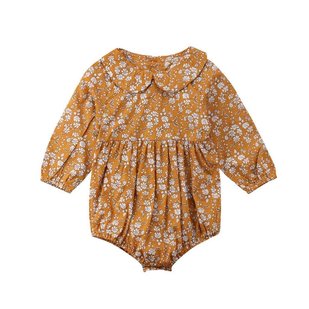 85a43421b Baby Girl Autumn Yellow Floral Romper – Trails End Clothing Co.