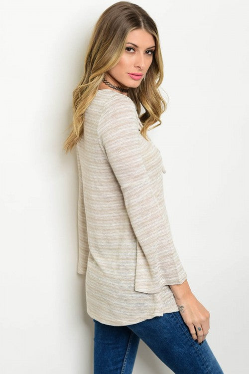 Ivory Cream Striped Long Sleeve